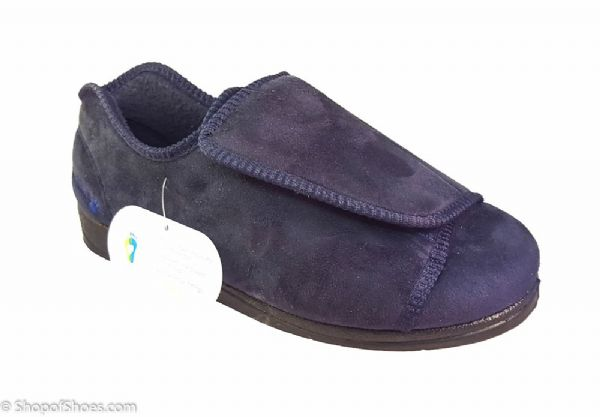 Peter, Wide opening mens slipper available in black or navy
